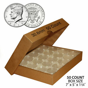 50-JFK-HALF-DOLLAR-Direct-Fit-Airtight-30-6mm-Coin-Capsule-Holder-QTY-50-w-BOX