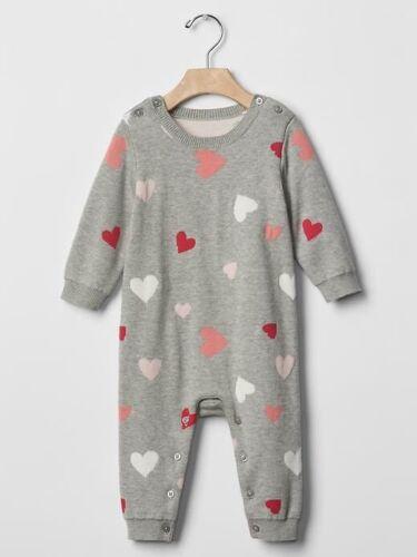 GAP Baby Girl Size 6-12 Months Gray Pink Valentine One-Piece Bodysuit Romper
