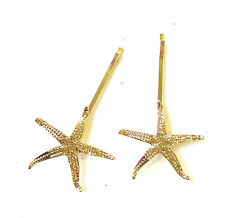 2 x Gold Metal Starfish Hair Grips Mermaid Star Fish Clips Bobby Pins Sea 2041