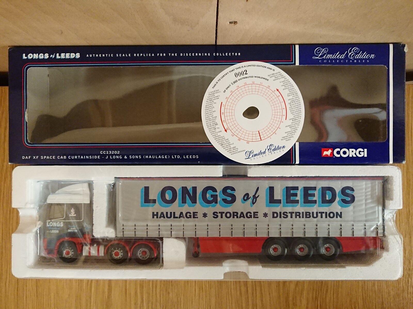 CORGI CC13202 DAF XF Curtainside J. Long & Sons Leeds LTD ED. No 0002 de 3900