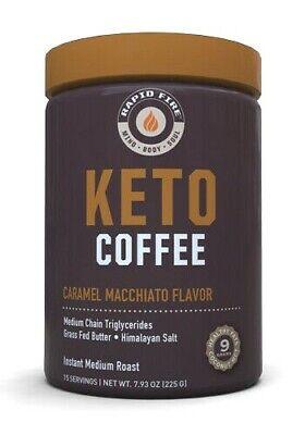 Rapid Fire KETOGENIC COFFEE Keto Instant CARAMEL MACCHIATO 15 Servings BURN FAT 35046104481   eBay