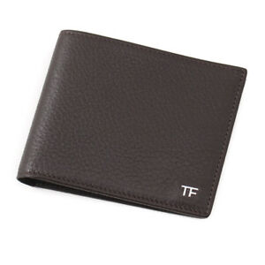 New-390-TOM-FORD-Dark-Brown-Leather-Classic-Bifold-Wallet-with-Silver-Logo