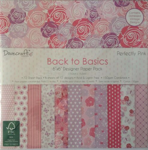 "Dovecraft Back to Basics 6/"" x 6/"" 72 sheets 150gsm Cardstock"