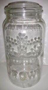Antique-Crown-Mason-Jar-30oz-Canada-1950-No-Lid-Clear-Glass-NM-6-75-034-x3-5-034