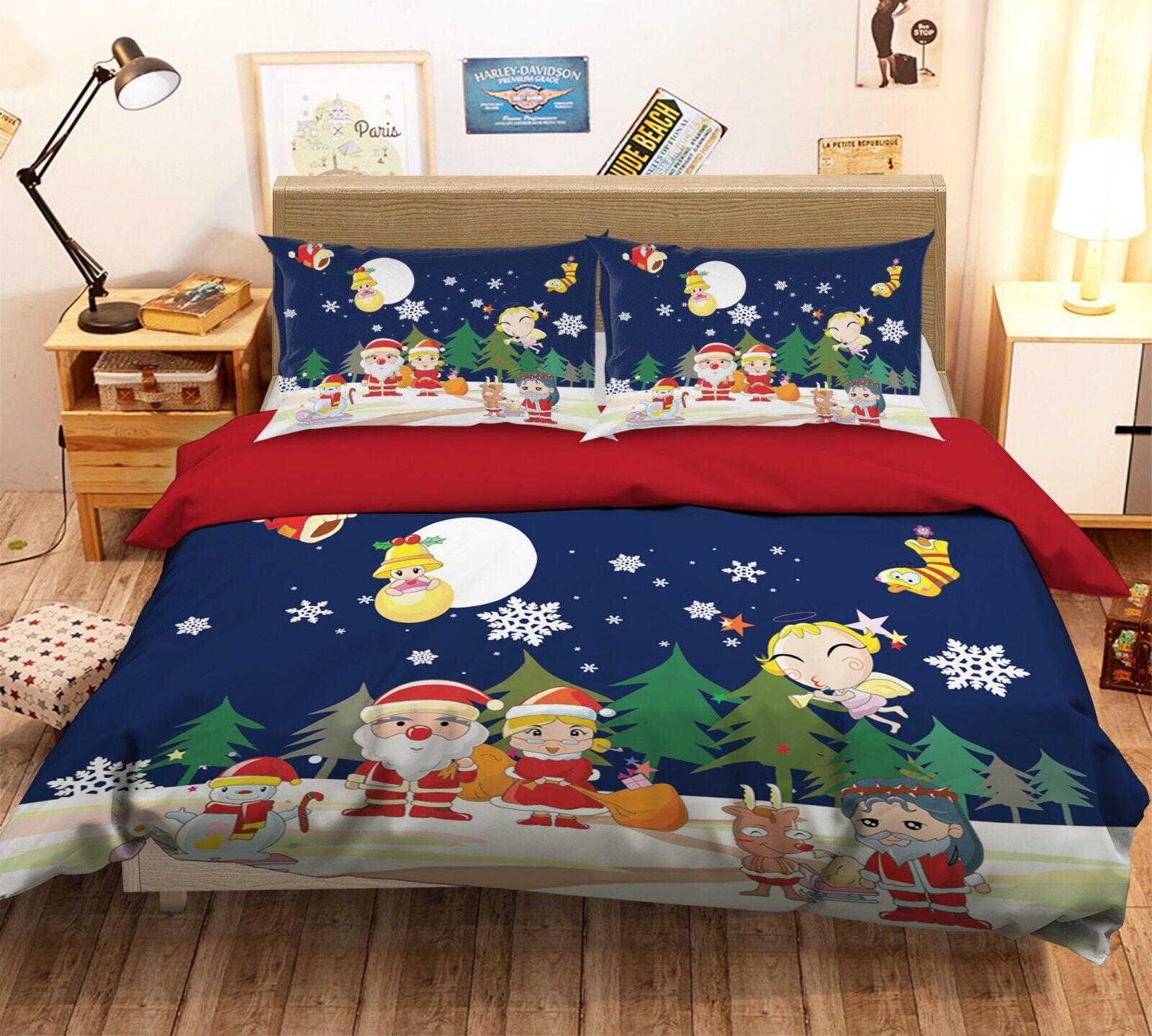 3D Christmas  Xmas 38 Bett Pillowcases Quilt Duvet Startseite Set Single Königin König UK