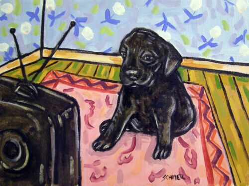 black labrador retriever puppy 11x14  art PRINT impressionism
