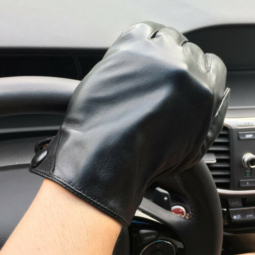 Men/'s 360° Smart Touch Screen Gloves Genuine Lambskin Leather Lined Black