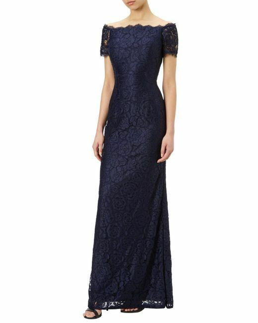 ADRIANNA PAPELL OFF THE SHOULDER LACE MIDNIGHT GOWN DRESS sz 4