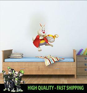 bedruckt wandkunst wei es kaninchen alice im wunderland grafik aufkleber kinder ebay. Black Bedroom Furniture Sets. Home Design Ideas