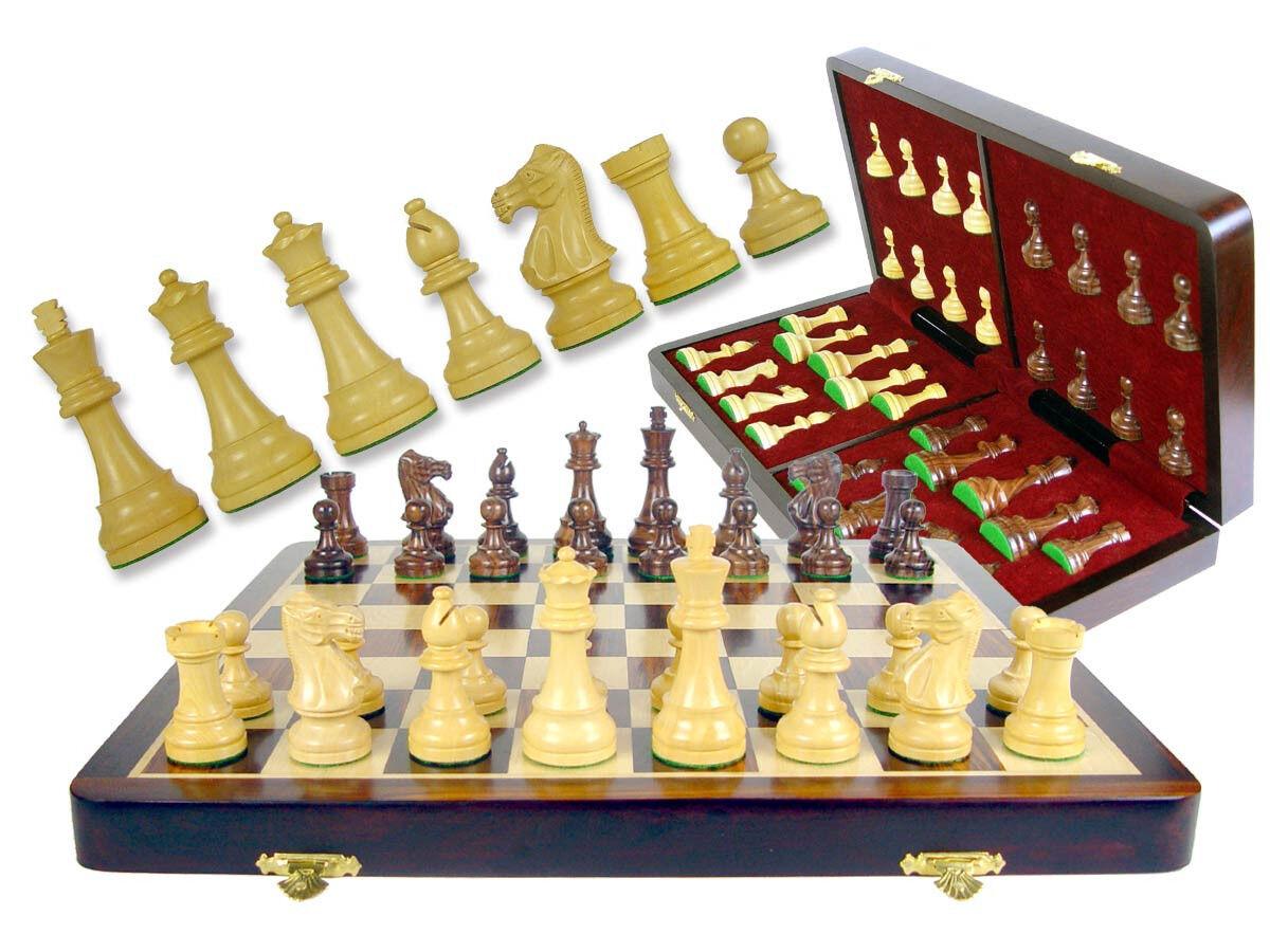Weighted Chess Set Pieces 3  Popular Staunton + Folding Folding Folding Chess Board 16  pinkwood f6186e