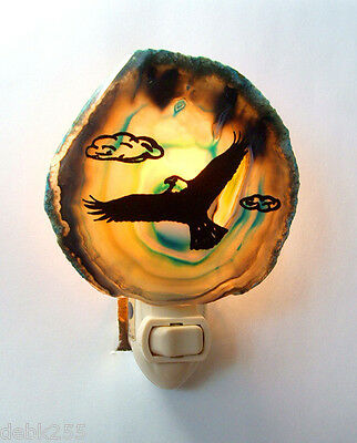 Night light  Soaring Eagle on Genuine Brazilian Agate Stone New  #09