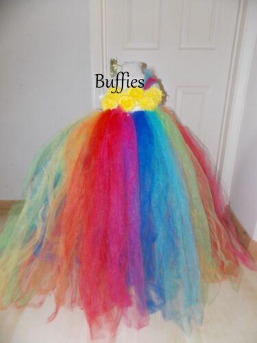 Girls Rainbow Long Tulle Dress Bridesmaid Flower girl Pageant prom Festival