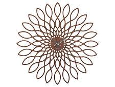 Karlsson Wanduhr Sunflowers Nussbaum 60 cm Wohnzimmeruhr Esszimmeruhr NEU