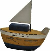 Wood Fishing Boat 5.5 Yellow Nautical Decorative Figure Ship Kids Room Shelf