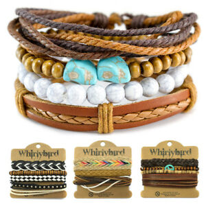 Details about Mens Leather Bracelet Surfer Wide Multi Row Layer Stack Wristband Wrap Stacker