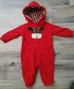 650826a1e Carter's Baby Boys Red Fleece Moose Hood Outfit Size 6 Months 6M ...