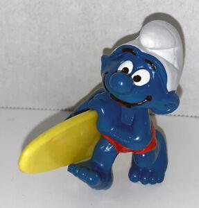 Surfer Smurf Figure 20137 Vintage Surfing Smurfs 2 inch Plastic Figurine SURF