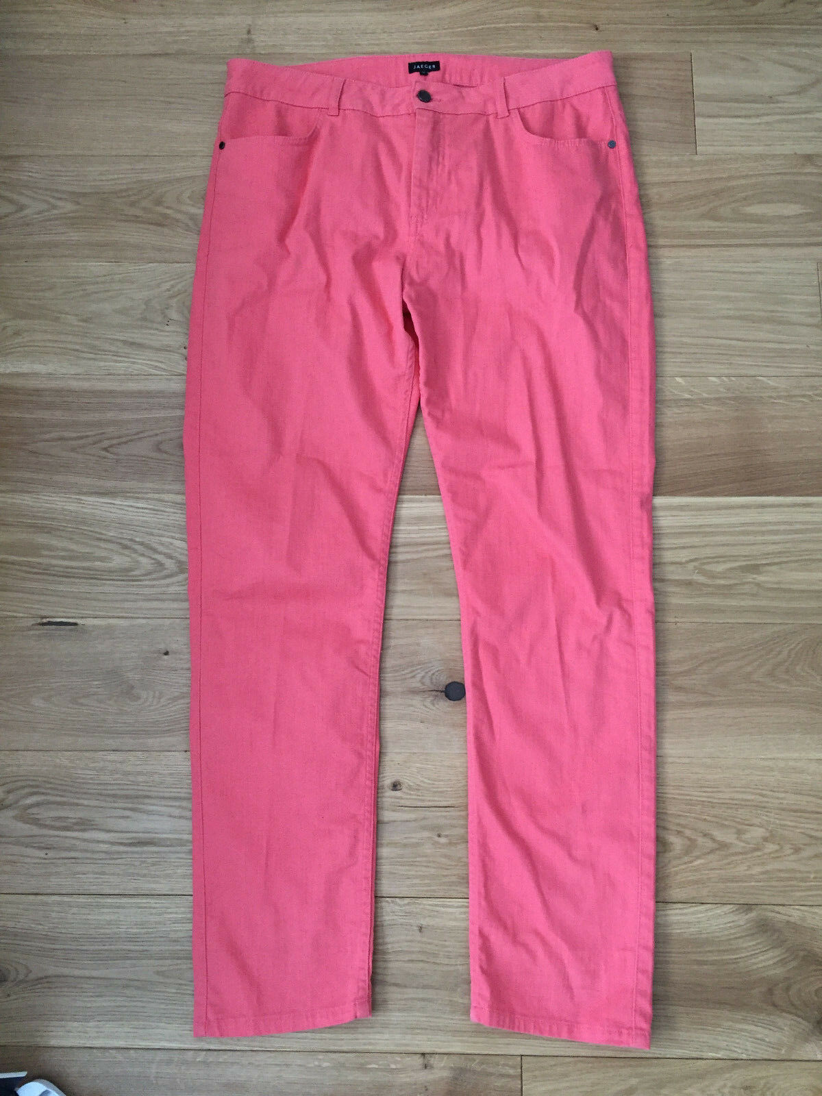 Coral pink straight leg jeans, size 16, Jaeger