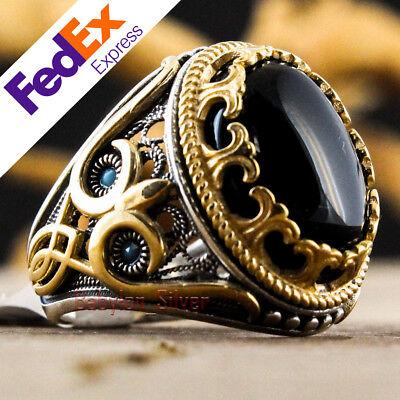 Onyx Stone 925 Sterling Silver TURKISH Handmade Luxury Men/'s Ring All Sizes