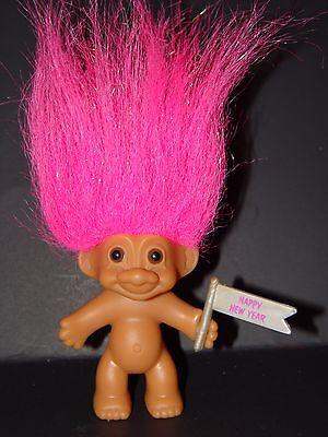 "RUSS /"" Happy New Year/"" 1993 /"" Purple Hair  Troll Doll 3/"""
