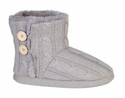 Ladies Slippers Mujer Botas al tobillo Botines de piel de invierno cálido De Punto Nueva Talla 3 - 9