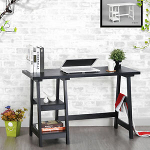 Black Trestle Computer Desk Wood Laptop Writing Table Shelves 47 X