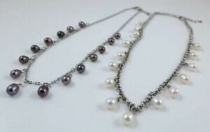 Fine Freshwater Teardrop Pearl & Platinum-plated Chain Necklace 17-19 inches