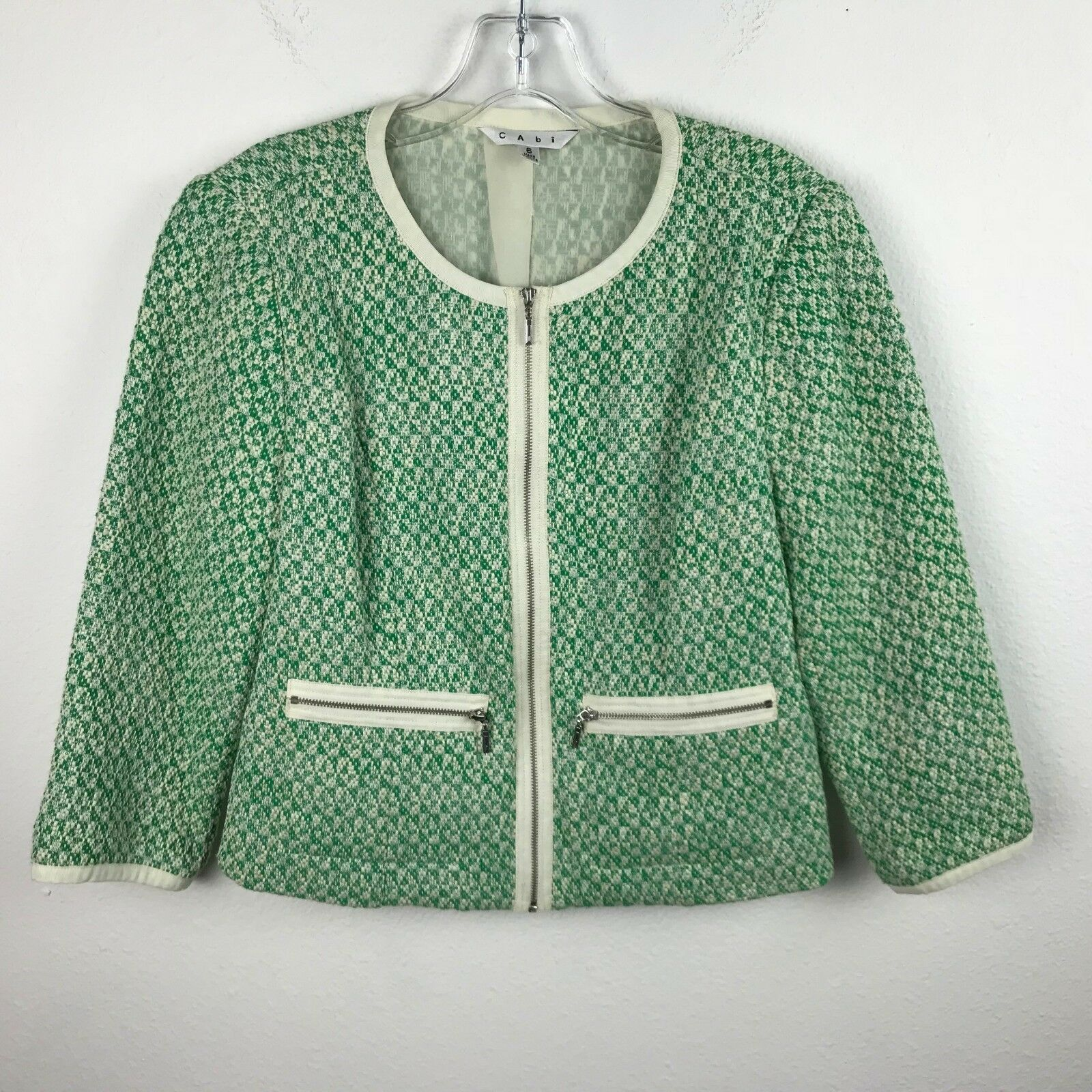 Cabi Blazer Size 6 Green Ivory Woven Style vtg 60's style Mod Career Cotton