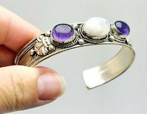 Purple-Amethyst-gem-Healing-Crystal-039-s-Handmade-From-Nepal-Cuff-Bracelet-Artesian