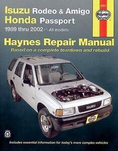 haynes manuals haynes isuzu rodeo amigo and honda passport 1989 rh ebay com free 2003 holden rodeo workshop manual Isuzu Rodeo Parts Diagram