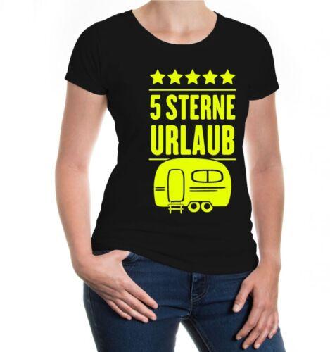 Damen Kurzarm Girlie T-Shirt 5 Sterne Urlaub Wohnwagen Wohnanhänger Camping