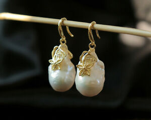 B12-Earrings-Square-Baroque-Pearl-With-Blutenzzweig-Sterling-Silver-925-Plated