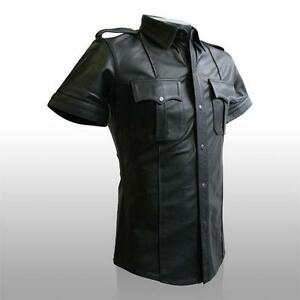 Mens-Hot-Genuine-Real-Black-Sheep-Lamb-LEATHER-Police-Uniform-Shirt-BLUF-Gay