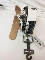 Hot Topic Black & White Fun Design Fashion Waist Genuine Leather Belt Size L