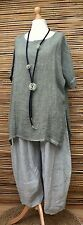 LAGENLOOK BEAUTIFUL LINEN/COTTON SUMMER LONG TOP/TUNIC*KHAKI GREEN*BUST UP TO 50