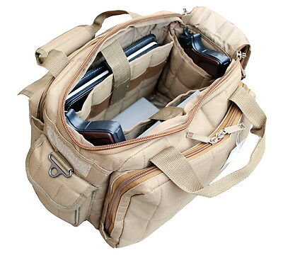 Ultimate Deluxe Tactical Pistol Tan Color Range Bag Polyester 1200D Heavy Duty