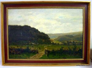 Axel-Wilhelm-Nordgren-1828-1888-Norwegische-Landschaft-mit-Dorf-Ol-auf-Leinw