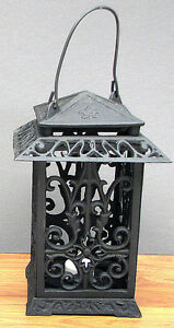 Image Is Loading Cast Iron Lantern Metal Candle Holder Scrolling Cut