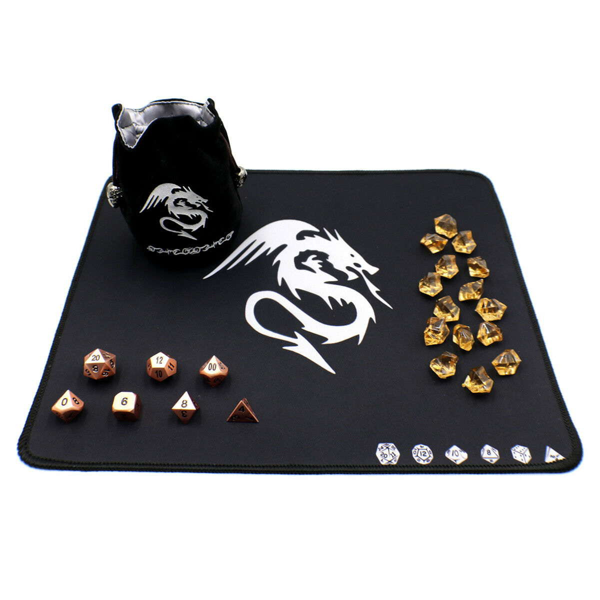D20 Metal Dice Set with Counters, Dice Bag and Play Mat for D&D - Bronze