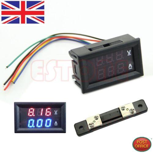 Dual LED Digital Voltmeter Ammeter Amp Volt Meter Current Shunt DC 100V 50A