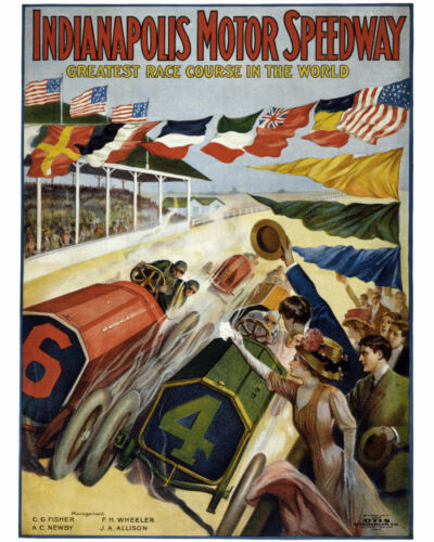 1909 Indianapolis Speed Racing Poster 8x10 Color Photo