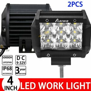 2PCS 4inch LED Work Light Bar Spot Beam Driving Fog Lamp Offroad Truck SUV ATV