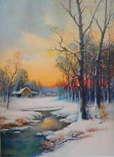 Cabin Creek Snowy Woods Sunset by Wm Thompson