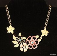 Mandee Colorful Flower Necklace Choker Adjustable 17 To 20 Gold Tone Beautiful
