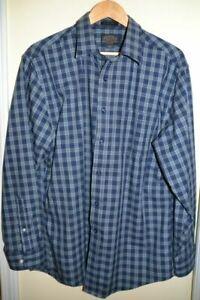 Men-039-s-Pendleton-Original-Board-Shirts-Fine-Check-Plaid-Blue-Navy-Wool-Shirt-XL
