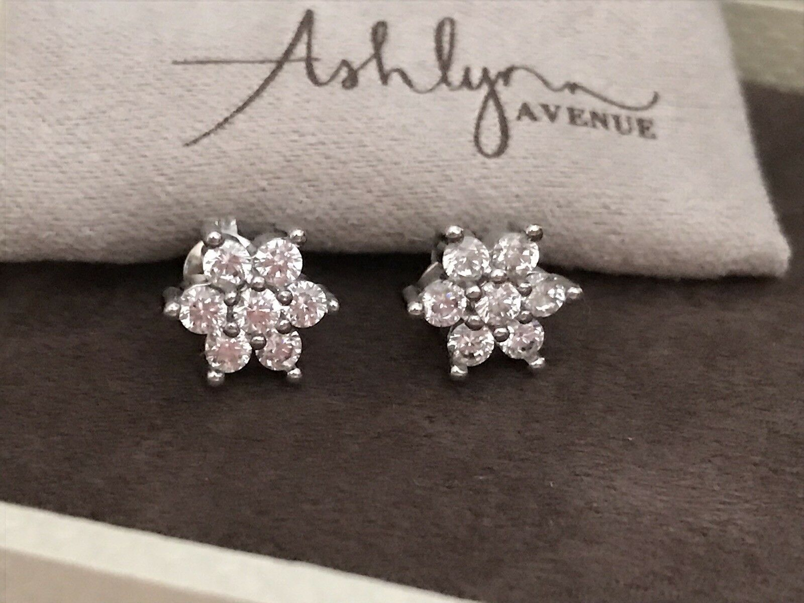 Ashley Avenue Summer Blossom 18k White gold Plated earrings With CZ Stones