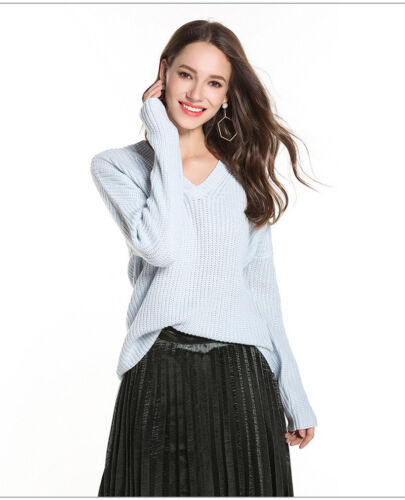 Women Soft Acrylic Knitwear Long Sleeve Pullover Lady V-Neck Solid Basic Sweater