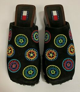 Vintage-90s-Tommy-Hilfiger-Clogs-Mules-Black-Boho-Embroidered-Medallions-Size-6M