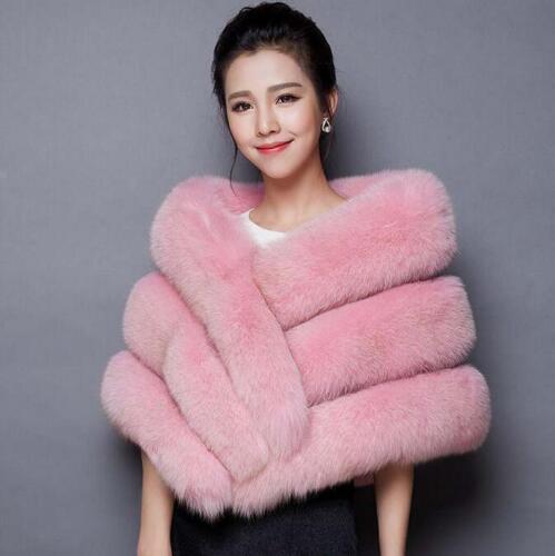 Noble Womens Fur Shawl Warm Winter Cloak Add Thick Wrap Cape Evening Coat Outwea
