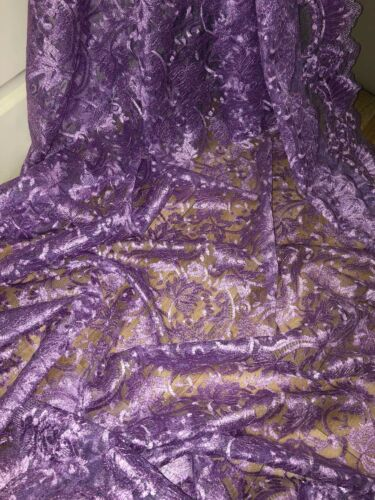 """1 MTR LILAC SCALLOPED BRIDAL EMBROIDERED LACE NET FABRIC 52/"""" WIDE £8.99"""